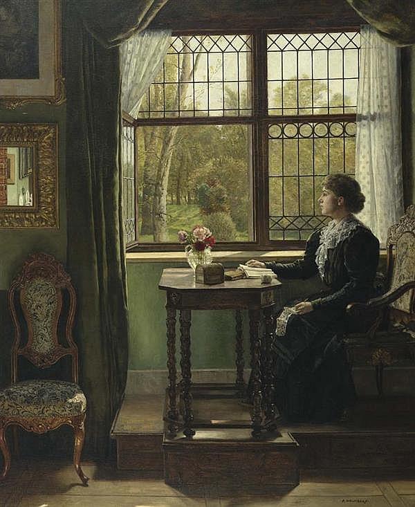 HOLMBERG, AUGUST JOHANN (1851 München 1911) Interieur mit junger Frau am Fenster. Öl auf Leinwand. 107,5 x 88,5 cm.