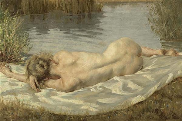 HAMME, PETER VON Liegender Akt in einer Flusslandschaft. 1926. Öl auf Leinwand. 50 x 72,5 cm.