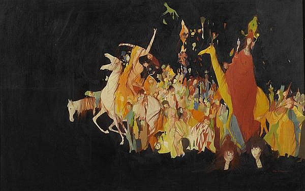 BACHMANN, OTTO (Luzern 1915 - 1996 Ascona) Cortège. 1948. Öl auf Pavatex. 70 x 45 cm.