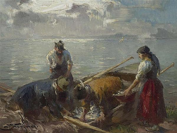 WOPFNER, JOSEPH (Schwaz 1843 - 1927 München) Chiemseefischer. Öl auf Pavatex. 16 x 20,5 cm.