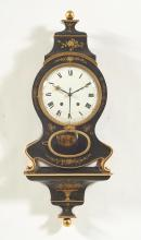 PAINTED CLOCK ON PLINTH WITH ALARM,