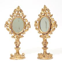 PAIR OF MONSTRANCES MOUNTED AS STANDING MIRRORS,