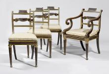 SET OF 3 CHAIRS AND 1 ARMCHAIR,