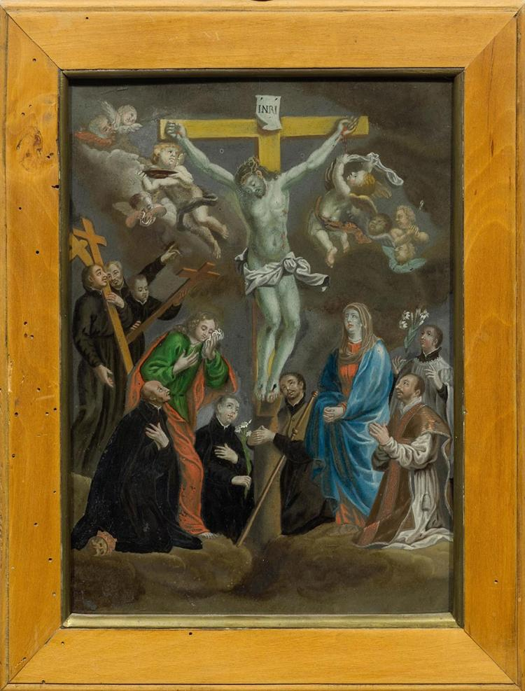 REVERSE GLASS PAINTING DEPICTING CHRIST ON THE CROSS,