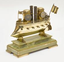 WEATHER STATION DESIGNED AS A STEAM-POWERED BATTLESHIP,