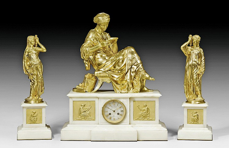 MANTEL SET 'LA LISEUSE', Louis XVI style, the dial