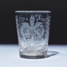 GLASS BEAKER WITH COAT OF ARMS,