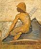 DE PURY, EDMOND-JEAN. (1845 - 1911). Pêcheur. Huile sur toile. Signé. 54x44 cm., Edmond Jean (Baron)