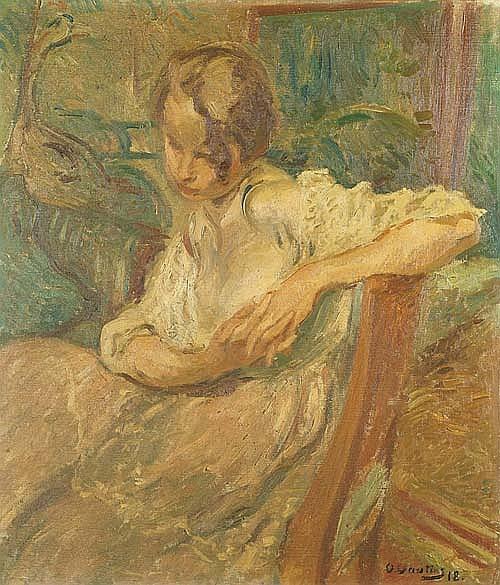 VAUTIER, OTTO Sitzendes junges Mädchen. Öl auf Leinwand. 89 x 76 cm.