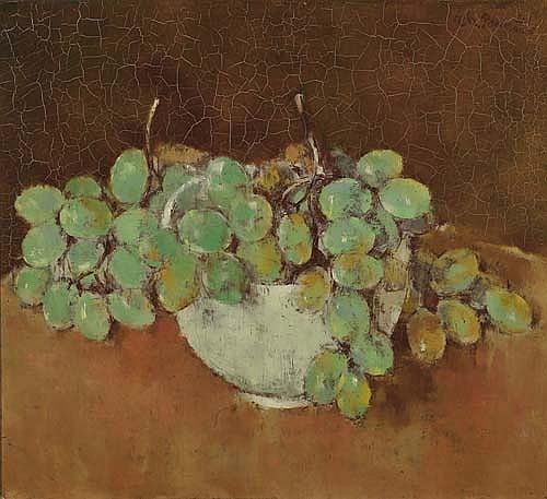 BARRAUD, CHARLES. (1897 - 1968). Grappe de raisins. Huile sur toile. Signé. 33x36 cm.