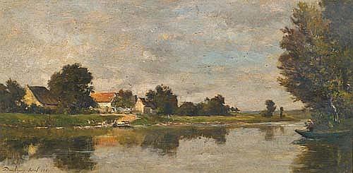 DAUBIGNY, KARL. (1846 - 1886). Paysage avec rivière. Huile sur bois. Signé et daté 1869. 23x47 cm.