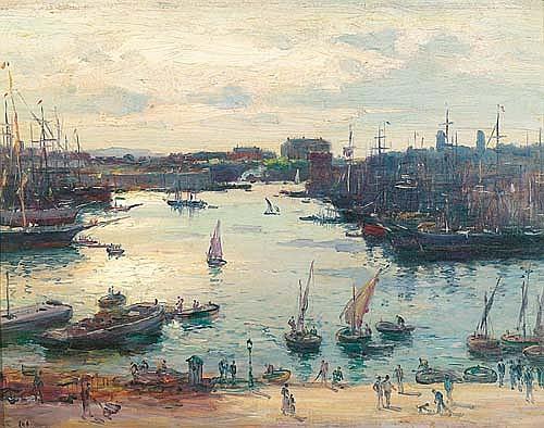 OLIVE, JEAN-BAPTISTE. (1848 - 1936). Port de Marseille. Huile sur bois. 32x41 cm.