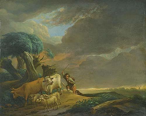 VERVLOET, FRANS Flusslandschaft mit Herde bei aufziehendem Gewitter. Öl auf Holz. 25,5 x 32,5 cm.