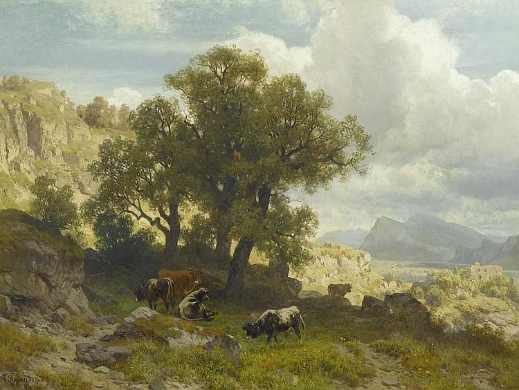 STEFFAN, ARNOLD(1848 Munich 1882)Cows in a broad
