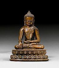 A FINE BRONZE FIGURE OF BUDDHA SHAKYAMUNI. Tibet,