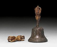 A BELL METAL AND GILT BRONZE VAJRA AND GHANTA.