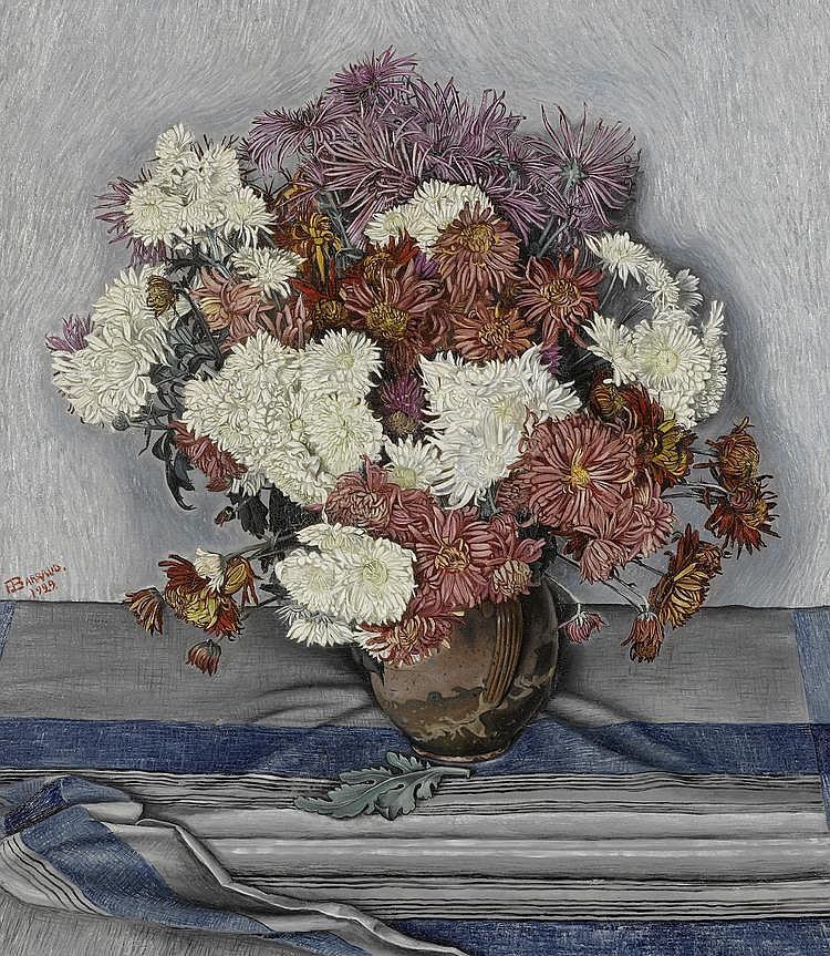 BARRAUD, FRANÇOIS EMILE (1899 - 1934) Nature morte aux chrysanthèmes. 1929 Huile sur toile.Provenance: Galerie Moos, Genève Exposition: Exposition François Barraud, Galerie Moos, Genève, juin 1931 (no 23)