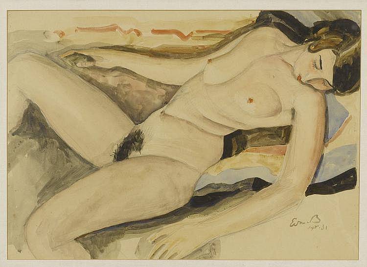 BILLE, EDMOND (1878 - 1959) Femme nue allongée. Sept. 1931 Aquarelle et crayon gris sur papier.