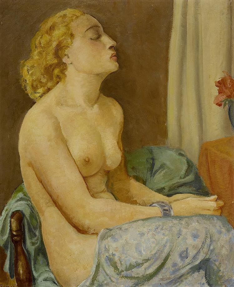 FRANÇOIS GUSTAVE (BARRAUD) (1883 - 1964) Femme dénudée assise Huile sur toile.