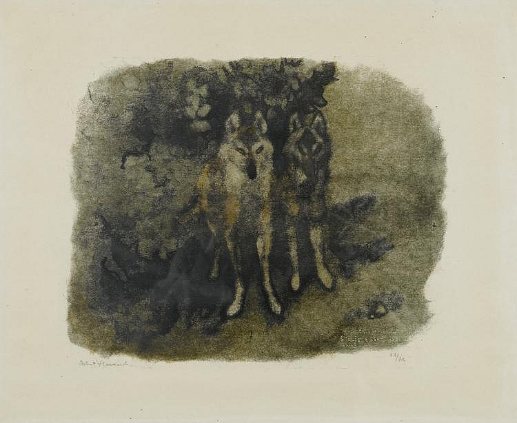 HAINARD, ROBERT (1906 - 1999) Couple de loups (Stalje, 8 septembre 1955) Gravure sur bois.