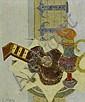 GIRARD, GEORGES (1917 - 2003) Lot de deux oeuvres: 'Vase et guitare' et 'Fleurs / Violettes' Huile sur toile.