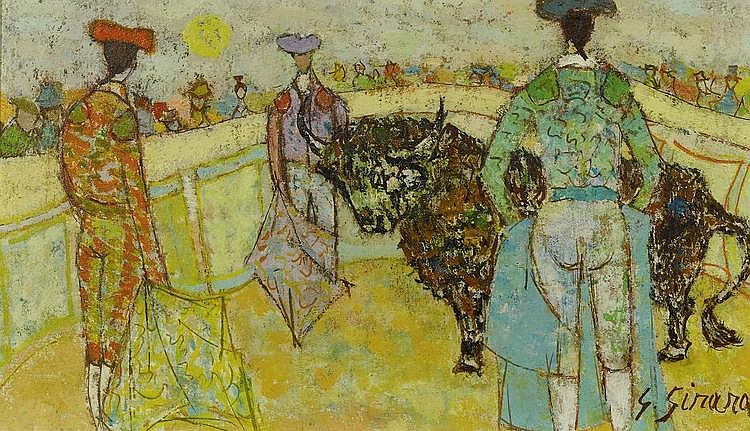 GIRARD, GEORGES (1917 - 2003) Lot de deux oeuvres: 'Corrida' et La porteuse de poissons Huile sur toile.