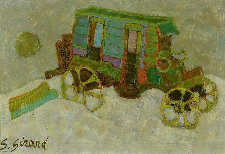 GIRARD, GEORGES (1917 - 2003) Lot de deux oeuvres: 'La diligence des Saintes' et 'Bateaux' Huile sur toile et technique mixte sur papie