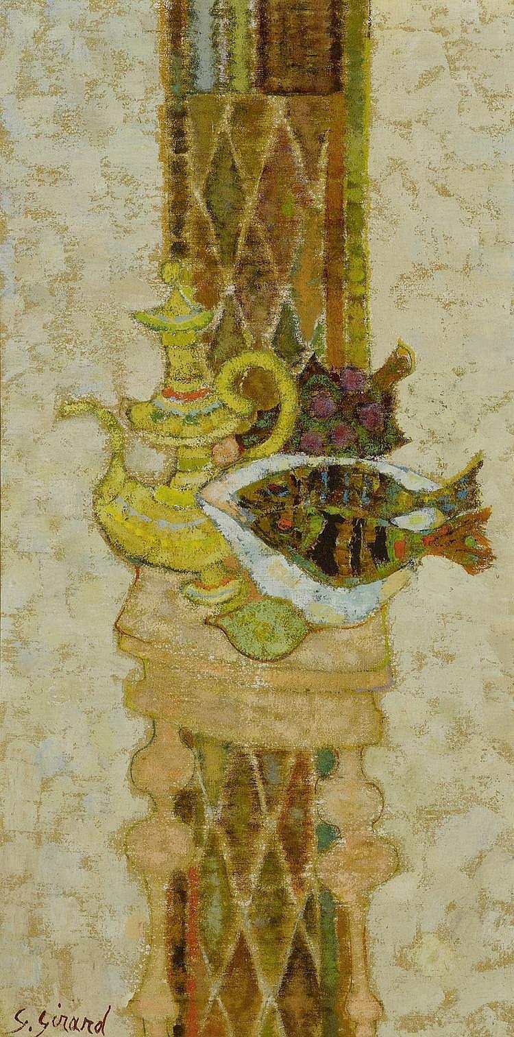 GIRARD, GEORGES (1917 - 2003) Pendants: 'Le banjo vert' et Nature morte aux poissons Huile sur toile.