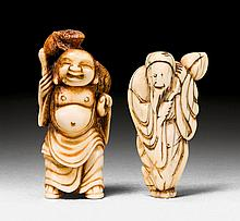 AN IVORY NETSUKE OF A SENNIN AND A STAG ANTLER