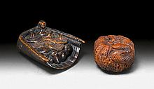 TWO WOODEN NETSUKE: A MOUSE NIBBLING AT MUSHROOMS