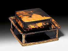 A FINE ROIRO AND GOLD MAKIE RICE BOX WITH STAND
