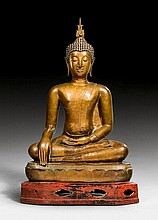 A FINE BRONZE FIGURE OF THE SEATED BUDDHA.