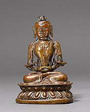 AMITAYUS.Sino-Tibetan, 19th c. H 17.5 cm.Beaten