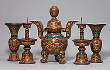 FIVE-PIECE CLOISONNÉ ALTAR GARNITURE.China,