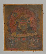 TANGKA OF A WRATHFUL DEITY.Tibet, 18th c. 32x26.5