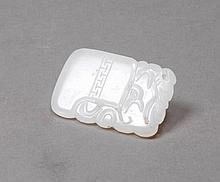 FLAT PENDANT.China, H 6 cm.White Jade. Small