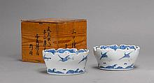 PAIR OF BLUE AND WHITE BOWLS.Japan, 19th c. D 18