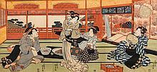 UTAGAWA KUNISADA (1786-1865).Ôban Triptychon.