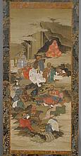 KAKEMONO OF THE 16 RAKAN.Japan, Edo Period, 136x57