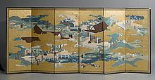 SIX-PART FOLDING SCREEN.Japan, ca. 1920,