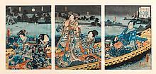 TOYOHARA KUNICHIKA (1835-1900).Ôban triptych.