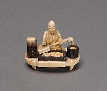 OKIMONO OF A MUSICAL INSTRUMENT MAKER.Japan, Meiji