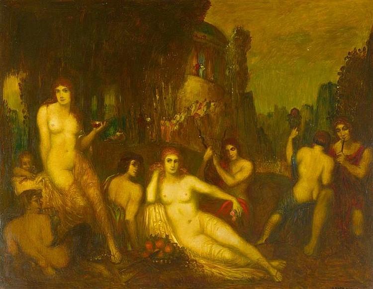 FREY-MOOCK, ADOLF (Zürich oder Jona 1881 - um 1950 Zürich) Olympisches Fest. Öl auf Hartfaserplatte. 117 x 150 cm.