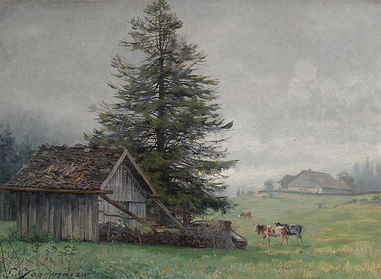 JEANMAIRE, EDOUARD (La Chaux-de-Fonds 1847 - 1916 Genf) Landschaft mit Landhäusern und Kühen. Öl auf Leinwand. 37 x 47 ,5 cm.
