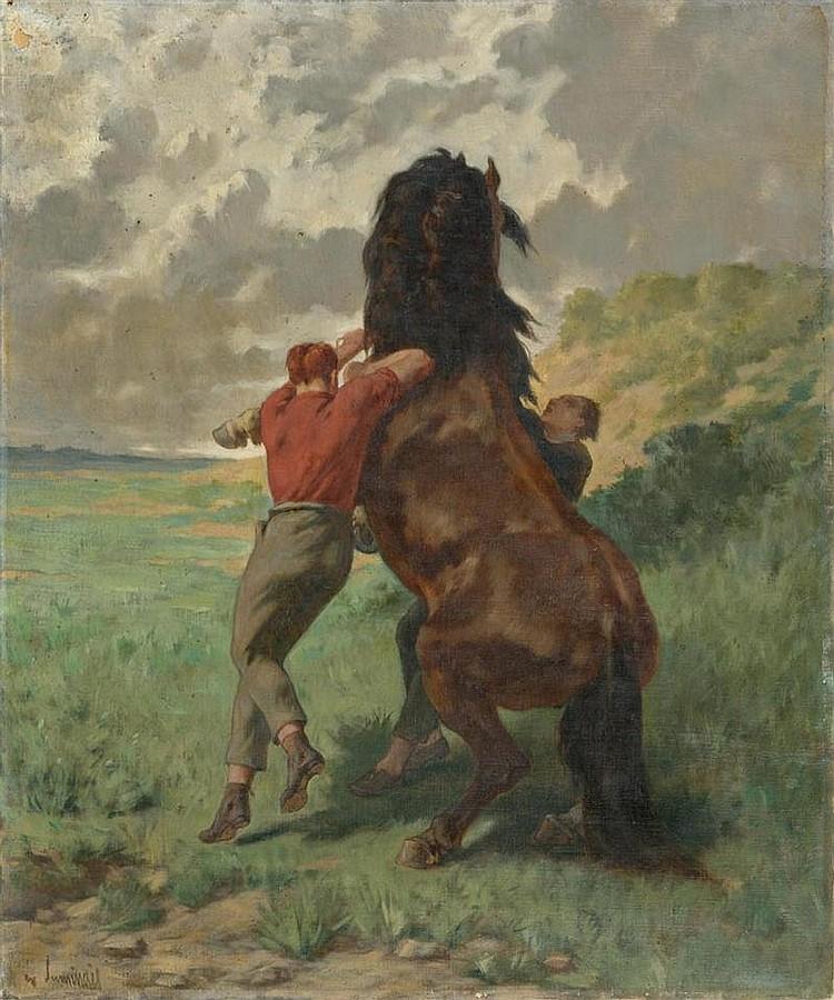 LUMINAIS, EVARISTE VITAL (Nantes 1821 - 1896 Paris) Zwei Pferdzähmende Männer. Öl auf Leinwand. 65 x 54 cm.