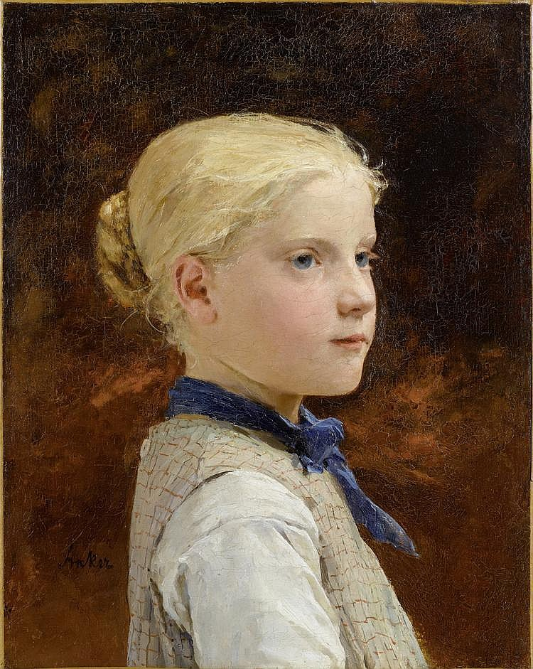 ANKER, ALBERT(1831 Ins 1910)Portrait of a girl.Oil