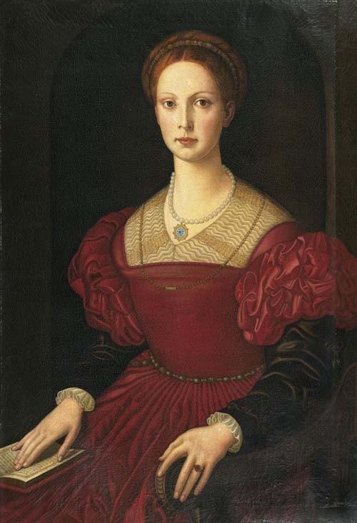 *BRONZINO, ANGELO Porträt der Lucrezia Borgia. Öl auf Leinwand. 100 x 70 cm.