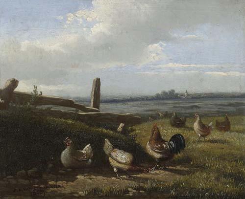 *LEEMPUTTEN, JEAN-BAPTISTE VAN Hühner auf der Wiese. 1865. Öl auf Holz. 17 x 21 cm.