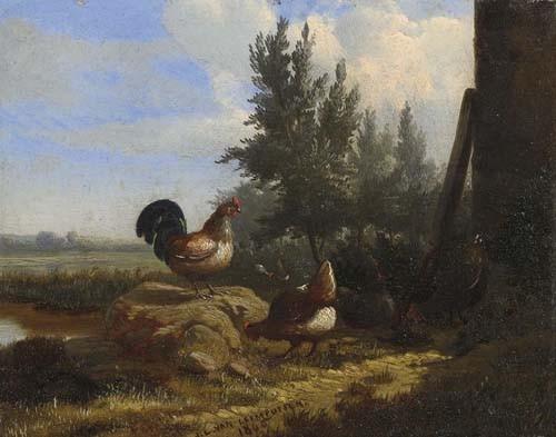 *LEEMPUTTEN, JEAN-BAPTISTE VAN Hühner. 1865. Öl auf Holz. 16 x 20 cm.