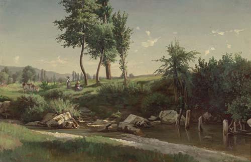 GEORGE-JUILLARD, JEAN PHILIPPE Landschaft mit Personen. Öl auf Karton. 28,5 x 44 cm.